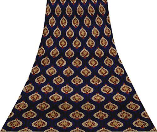 Svasti Blumendamast Vintage-Silk Sari Royal Blue Schneiderei Refurbished Craft Fabric Saree 1 Yard Gebraucht Blue Silk Sari