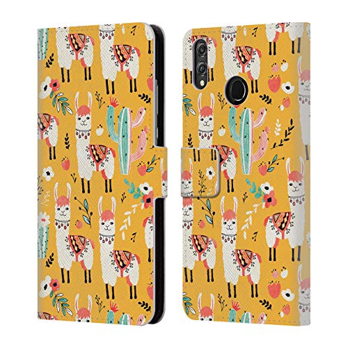 Head Case Designs Offizielle Lidiebug Weisses Lama 2 Tiermuster Leder Brieftaschen Huelle kompatibel mit Huawei Honor 8X / View 10 Lite