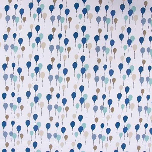 SCHÖNER LEBEN. Baumwollstoff Luftballons weiß Petrol Mint beige 1,4m Breite -