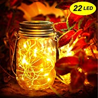 Mr.Twinklelight® Solar Mason Jar Lights-22 LED Waterproof Solar String Lights Decorative Lights for Garden|Courtyard|Wedding|Party|Christmas|Tree|Fence (Warm White)