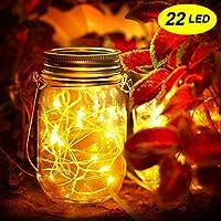 Mr.Twinklelight® Solar Mason Jar Lights-22 LED Waterproof Solar String Lights Decorative Lights for Garden|Courtyard|Wedding|Party|Christmas|Tree|Fence (Warm White)