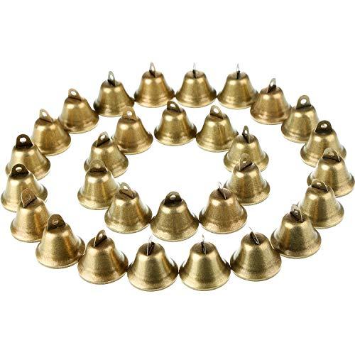 Maitys 30 Stücke Vintage Jingle Glocken Bronze Ton Glocken Hund Tür Klingel für Wind Glockenspiel Herstellung, Handwerk Dekorationen und Hund Training
