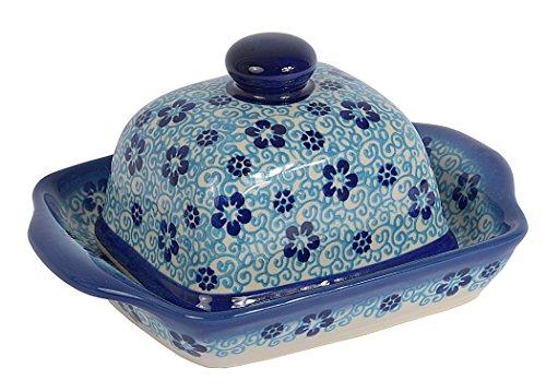 Traditionelle Polnische Keramik, handgefertigte Butterdose mit Deckel mit Muster im Bunzlauer Stil, B.102.FLOW