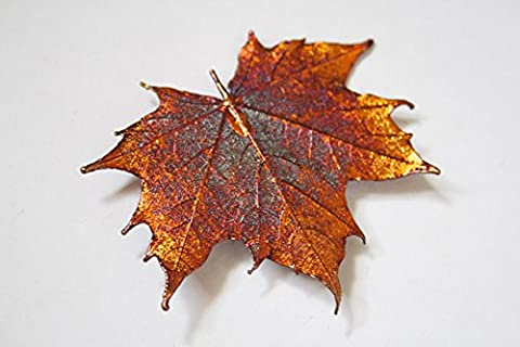 Real leaf brooch - Maple leaf in iridescent copper.