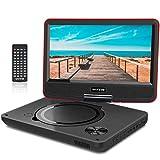 WONNIE 11.5' Lecteur DVD Portable écran Rotatif de 9,5' à 270°,Carte SD Prise USB Charge directe Formats/RMVB / AVI / MP3 / JPEG, Parfait Enfants (Rouge)