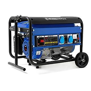 EBERTH 2200 Watt Générateur électrique (Châssis, 5,5 CV Moteur à essence 4 temps, Refroidi à l'air, 2x 230V, 1x 12V, Régulateur de tension automatique AVR, Alarme manque d'huile, Voltmètre)