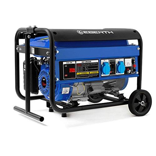 EBERTH 2200 Watt Benzin Stromerzeuger (Fahrgestell, 5,5 PS Benzinmotor, 4-Takt, luftgekühlt, 2x 230 V, 1x 12 V, Automatischer Voltregler AVR, Ölmangelsicherung, Voltmeter)