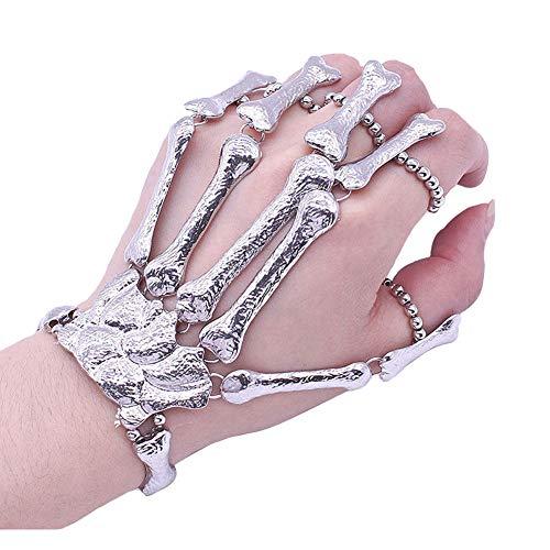 Zooarts Frauen Armband Gothic Punk Skull Finger Skeleton Knochen Hand Armbänder Weihnachten