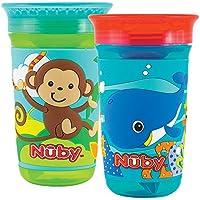 Nûby Maxi 3D - Taza con tapa higiénica, 360 ml