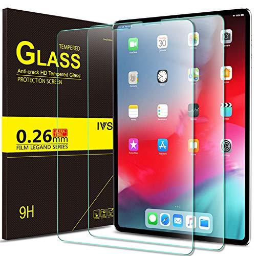 IVSO Panzerglas Schutzfolie Für Apple iPad Pro 11 Mit der Gesichts-ID Arbeiten, 9H Härte, 2.5D, Glas Panzerfolie Displayschutzfolie Für Apple iPad Pro 11 Zoll 2018 Modell,(2 x)