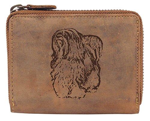 Greenburry Damen-Geldbörse PERSONALISIERT Wunschnamen mit Hunde-Motiv Tibet Terrier, Leder Damen-Geldbeutel in Braun