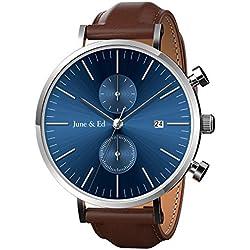 June & Ed Cuarzo Reloj de Hombre, con Acero Inoxidable Correa, la ventana del dial de cristal de zafiro, Azul