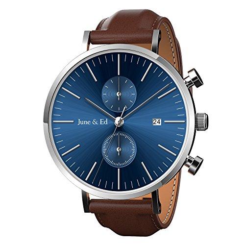 June & Ed Quarz Armbanduhr Edelstahl Herrenuhr Armband mit Saphir Kristall wählen Fenster -Blau W-0021