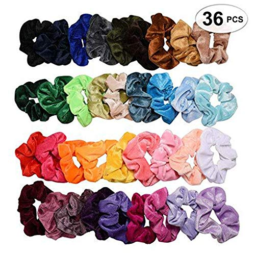 36Pcs Large Scrunchies Kit Including Velvet Satin Chiffon Silk Glitter Rabbit Bunny Ear Elastic Hair Bands Scrunchy Hair Ties Ropes Scrunchies for Women or Girls Hair Accessories -
