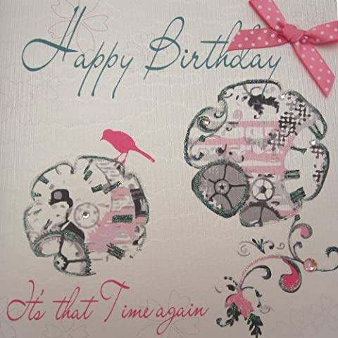 White cotton cards wb209 1 Happy Birthday It's A Time Again tarjeta hecha a mano