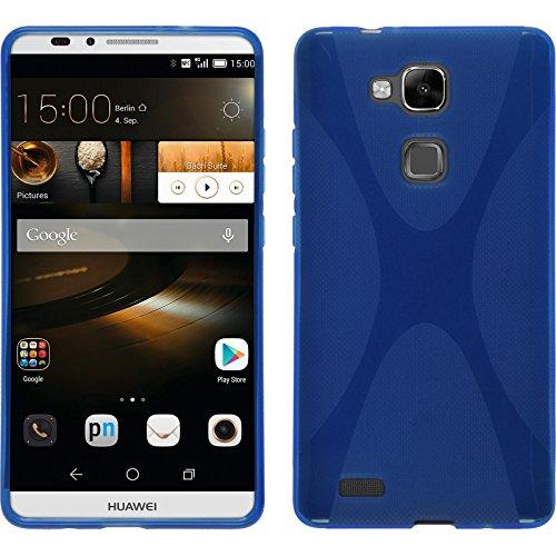 PhoneNatic Case für Huawei Ascend Mate 7 Hülle Silikon blau X-Style Cover Ascend Mate 7 Tasche + 2 Schutzfolien