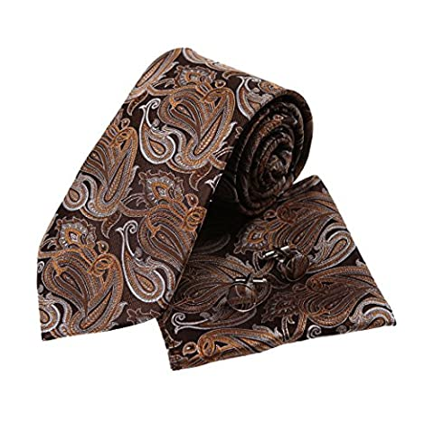 YACB0047 Brown Paisley Great Design Woven Jacquard Silk Tie Series For Designer Neck Tie Hanky and Cufflinks Set By Y&G