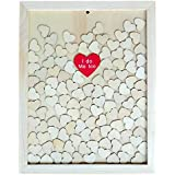 Segolike Personalized Love Drop Top Guest Book Wooden Frame Heart For Wedding Decoration Black/Natural - Natural, As Described