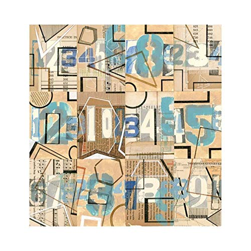 Artshdow Zahlen: Original Mischtechnik Collage Zeichnung Malerei Geometrische Abstrakte Kunst Blau Türkis Beige Schwarz Weiß Braun Tan Tan Hirsch