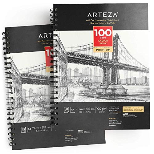 ARTEZA Album Disegno Sketchbook Spiralato A4 (21 x 29.7 cm), Set da 2 di 100 Fogli a Grana Fine Senza Acidi, Ideali per Tutte le Tecniche a Secco, Da Pratica e da Studio