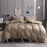 LJJYF Weiche Bettbezüge Set mit,Rope Washed Baumwolle einfarbig weiche und Bequeme Bettwäsche, Bettbezug und Kissenbezug, Einzel-, Doppelkönig-Khaki_135 * 200cm (2pcs)