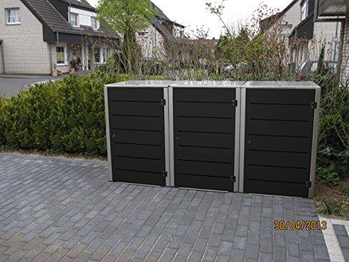 Mülltonnenbox Edelstahl, Modell Eleganza Line 120 Liter als Dreierbox in Granitgrau
