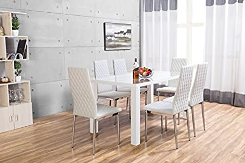 Pivero High Gloss White Dining Table Set and 6 Faux Leather Chairs Seats (6 Chairs)