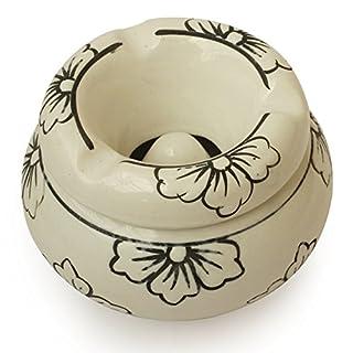 AB Handicrafts - Moroccan Round Black Flower Ashtray 4