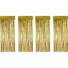 4 Pack Fólia Függönyök Fémes Fringe függönyök Shimmer függöny születésnapi esküvői karácsonyi díszek (arany)
