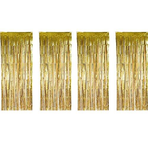 4 Paket Folienvorhänge Metallic Fringe Vorhänge Schimmer Vorhang für Geburtstag Hochzeit Weihnachtsschmuck (Gold) (Hintergrund Gold Fringe)