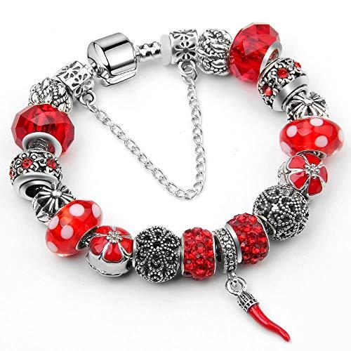 pengyuyaniii Armband Weiblich, Herzförmige Rosa, Rote Paprika Anhänger Perlen Armband, Legierungsmaterial (Perlen Paprika)