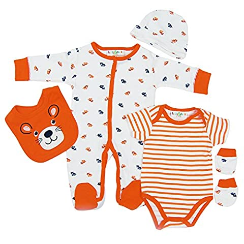 5 piece Layette Clothes Packs for Baby Boys Girls Infants Unisex Newborn Outfits Christening Christmas Birthday Gifts Sets from Auntie Grandma 100% cotton 0 0-3 3-6 months Orange