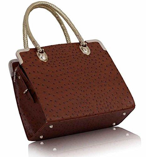 TrendStar Damen Konstrukteur Taschen Promi Stil Straußen Trage Damen Handtaschen Braun