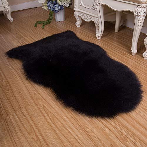 GTT Soft Faux Schaffell Teppich Matte Teppich Pad Anti-Rutsch-Stuhl Sofa Abdeckung Für Schlafzimmer Wohnkultur Teppiche Für Schlafzimmer Kunstpelz Teppich,65X102(cm)-Black