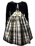 TrendyDress Mädchen Petticoat Kleid inkl. Samt Bolero in schwarz-Gold Gr. 86,92,98,104,110,116,122 (152)