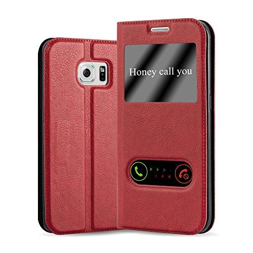 Cadorabo Hülle für Samsung Galaxy S6 Edge - Hülle in Safran ROT - Handyhülle im Standfunktion & 2 Fenstern (View Design) - Case Cover Schutzhülle Etui Tasche Book Klapp Style