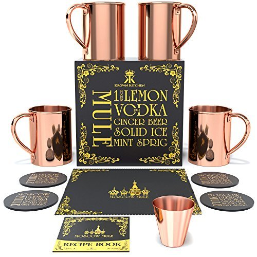 Krown Kitchen - Moscow Mule Kupferbecher | Becher Tassen Set 4er | 16oz - Hotel Becher Set