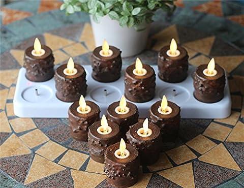 Primitive Bougies chauffe-plat avec mèche en mouvement de flamme, télécommande, minuteur et socle de chargement, Lot de 12
