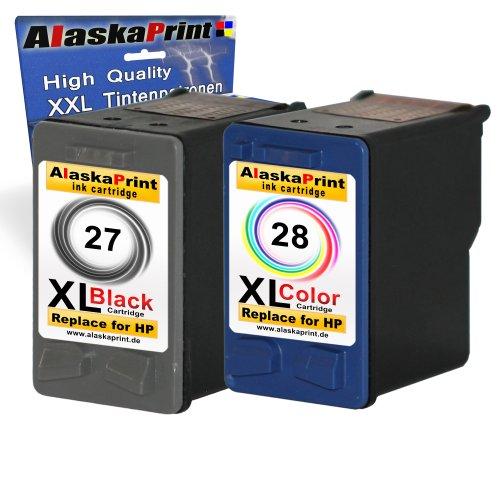Preisvergleich Produktbild Alaskaprint Kompatible Tintenpatronen als Ersatz für HP 27 XL + 28 XL (Schwarz , Farbig , 2er-Pack)