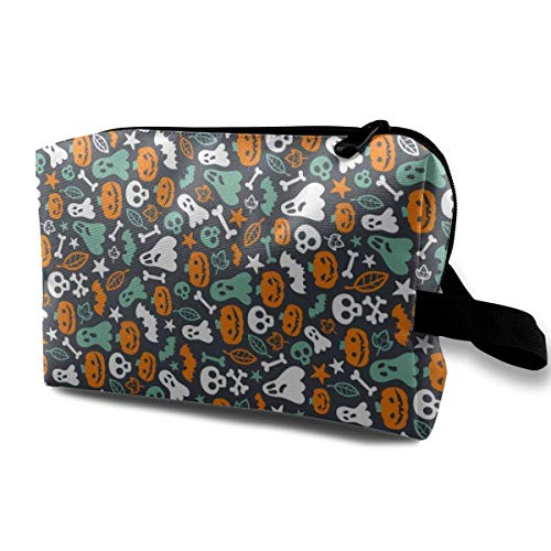 Makeup Bag Portable Travel Cosmetic Bag Halloween Retro Ghosts Pumpkins Skulls Bones Bats Mini Makeup Pouch for Women Girls