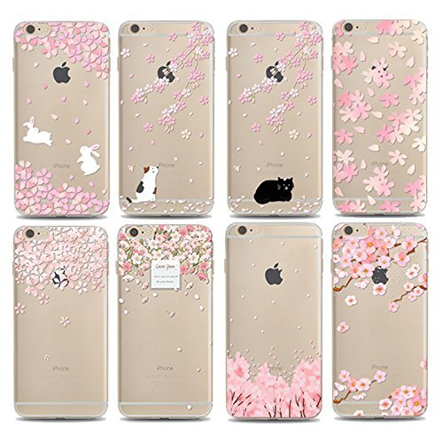 Coque iPhone 7 Housse étui-Case Transparent Liquid Crystal Sakura en TPU Silicone Clair,Protection Ultra Mince Premium,Coque Prime pour iPhone 7 (2016)-style 1 style 7
