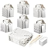 Confezione di 36 Paper Treat Boxes – Gable favor Boxes, Fun party Play Goodie scatole, 3 Dozen brillante argento festa di compleanno, doccia Loot scatole regalo, 6 design, 5,1 x 5,1 x 5,1 cm