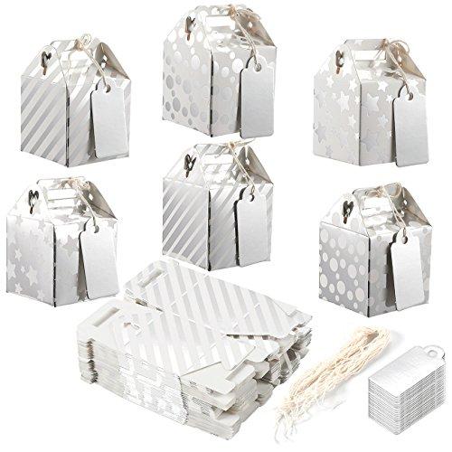 handeln-Boxen-Giebel Favor Boxen, Fun Party Play Goodie Boxen, 3Dutzend helles Silber Geburtstag, Dusche Beute Geschenk-Boxen, 6Designs, 5,1x 5,1x 5,1cm ()
