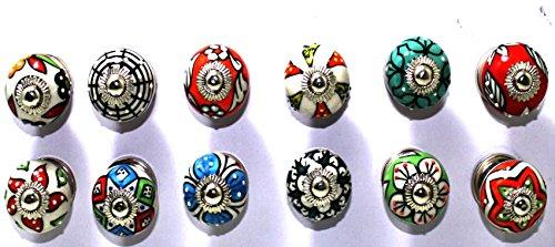 12 Schublade Zieht (BLUE NIGHT 12Stück Dotted Mix Farbe Multi Entworfen Keramik Schrank Schrank Tür Knöpfe Schublade zieht und Chrom Hardware)