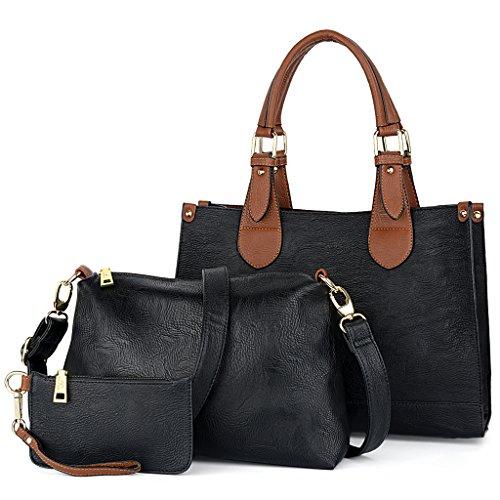 UTO Damen Handtasche Set 3 Stücke Bag PU Leder Shopper klein Schultertasche Geldbörse Schulterriemen schwarz (Uhrarmband-geldbörse)