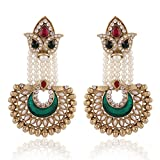 I Jewels Traditional Gold Plated Elegantly Handcrafted Meenakari & Pearl Hanging Earrings for Women E2520MG (Maroon & Green)