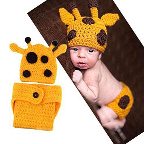 DAYAN Baby Neugeborenen Giraffe Hand gestrickt häkeln Hut Kostüm Baby Fotografie Foto Props passen 0-6 ()