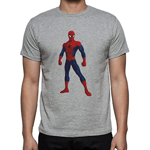 Spider Man Spidey Fierce Position Herren T-Shirt Grau