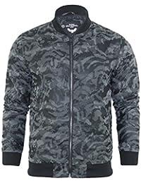 Brave Soul - Chaqueta / abrigo de camuflaje color caqui para hombre, parka estilo bomber acolchada con capucha