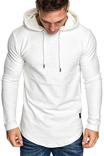 Amaci&Sons Herren Oversize Kapuzenpullover Hoodie Sweater Pullover Sweatshirt 4011 Weiß M - 3